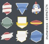 mixed set of spaceship badges... | Shutterstock .eps vector #654967174
