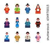 korea cute character costume... | Shutterstock .eps vector #654970015