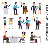 nine illustrations of cartoon... | Shutterstock .eps vector #654971485