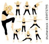 slim woman workout fitness ... | Shutterstock .eps vector #654973795