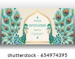 invitation card templates with... | Shutterstock .eps vector #654974395