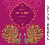 invitation card templates with... | Shutterstock .eps vector #654974404