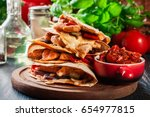 stack of quesadillas with... | Shutterstock . vector #654977815