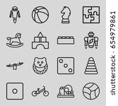 toy icons set. set of 16 toy... | Shutterstock .eps vector #654979861