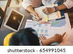 young man discussing market... | Shutterstock . vector #654991045