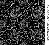 Stock photo beautiful black and white seamless pattern in roses background for design for greeting card and 654999199