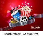 cinema movie theater object on... | Shutterstock .eps vector #655000795