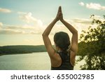 yoga young woman. | Shutterstock . vector #655002985