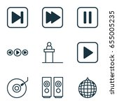 multimedia icons set.... | Shutterstock .eps vector #655005235
