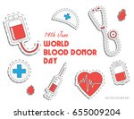 world blood donor day.... | Shutterstock .eps vector #655009204