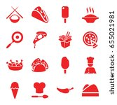 set of 16 cuisine filled icons... | Shutterstock .eps vector #655021981