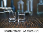 russian vodka pouring from the... | Shutterstock . vector #655026214