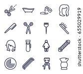 set of 16 hair outline icons... | Shutterstock .eps vector #655029919