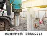 hydraulic pile driving for... | Shutterstock . vector #655032115