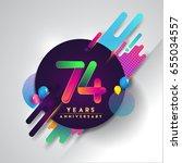 74 years anniversary logo with... | Shutterstock .eps vector #655034557
