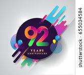 92nd years anniversary logo... | Shutterstock .eps vector #655034584