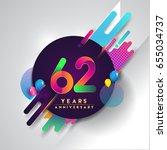 62nd years anniversary logo... | Shutterstock .eps vector #655034737