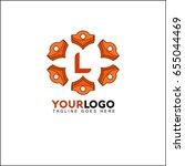 l orange circle flower letter... | Shutterstock .eps vector #655044469