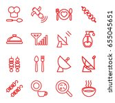 Dish Icons Set. Set Of 16 Dish...