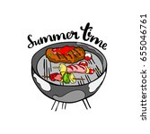 barbecue. summer time. isolated ... | Shutterstock .eps vector #655046761