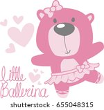 cute baby bear ballerina with... | Shutterstock .eps vector #655048315