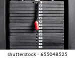 black iron heavy plates stacked ... | Shutterstock . vector #655048525