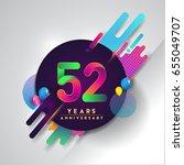 52nd years anniversary logo... | Shutterstock .eps vector #655049707