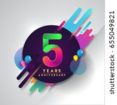 5th years anniversary logo with ... | Shutterstock .eps vector #655049821