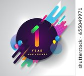 1st year anniversary logo with... | Shutterstock .eps vector #655049971