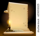 old parchment with a candle... | Shutterstock .eps vector #655053325