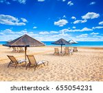 beach and beautiful tropical... | Shutterstock . vector #655054231