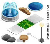isometric elements for the park ... | Shutterstock . vector #655054735