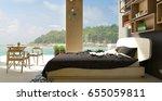 luxury bedroom interior and... | Shutterstock . vector #655059811