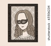 Masked victorian woman portrait in wood frame - stock vector