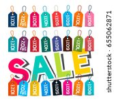 sale. paper cut title with tags ... | Shutterstock .eps vector #655062871