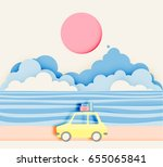 road trip on the beach with... | Shutterstock .eps vector #655065841