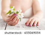 female hands with manicure... | Shutterstock . vector #655069054