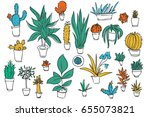 set of different plants  cactus....   Shutterstock .eps vector #655073821