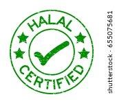 grunge green halal certified...   Shutterstock .eps vector #655075681