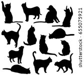 Stock vector set vector silhouette of the cat different poses sits and lies black color isolated on white 655075921