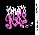 happy kiss day calligraphic... | Shutterstock .eps vector #655079857