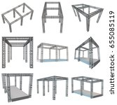 steel truss girder rooftop...   Shutterstock . vector #655085119