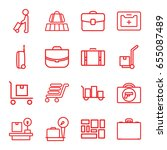 suitcase icons set. set of 16... | Shutterstock .eps vector #655087489