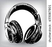 hand drawn headphones. vector... | Shutterstock .eps vector #655087801