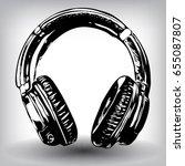 hand drawn headphones. vector... | Shutterstock .eps vector #655087807