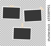 set of photo frame with sticky... | Shutterstock .eps vector #655089901