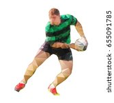 rugby player passing ball ... | Shutterstock .eps vector #655091785