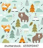 vector scandinavian pattern.... | Shutterstock .eps vector #655093447