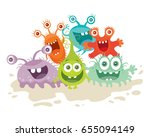 set of cartoon monsters. funny... | Shutterstock . vector #655094149
