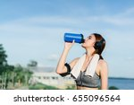 young girl asian drinking... | Shutterstock . vector #655096564